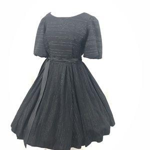 Vintage Black Silver Square Dance Lolita Dress L